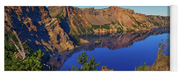 Crater Lake Morning Reflections Yoga Mat