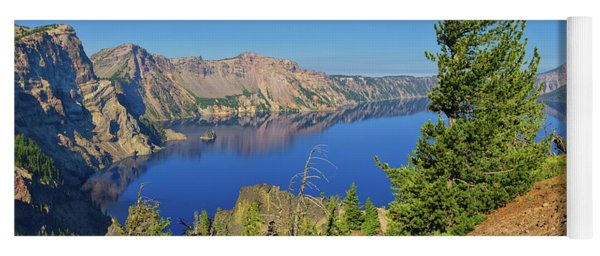 Crater Lake Panoramic Reflections Yoga Mat