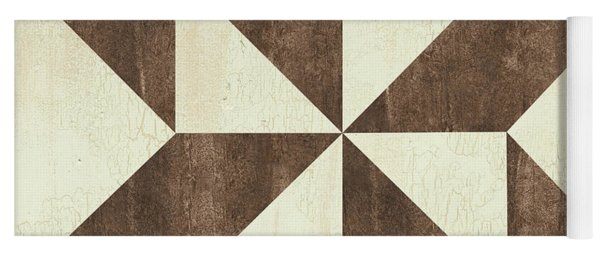 Cream And Brown Quilt Yoga Mat