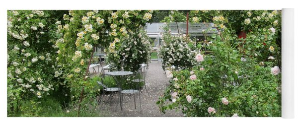 Cream-colored Roses With Your Coffee Yoga Mat