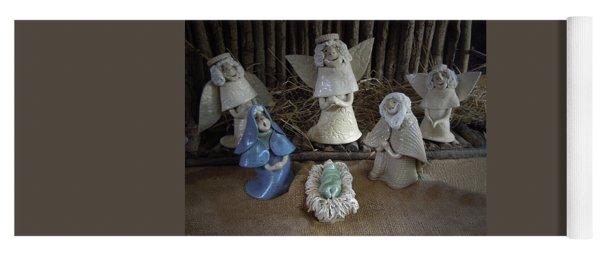 Creche Mary Joseph And Baby Jesus Yoga Mat