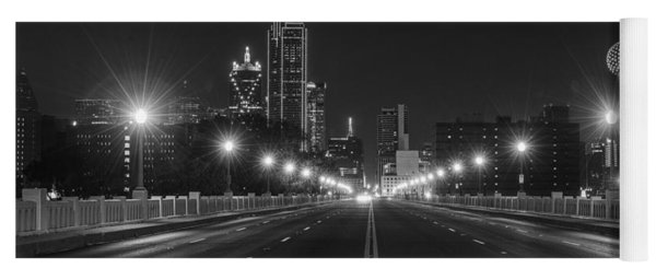Yoga Mat featuring the photograph Crossing The Bridge To Downtown Dallas At Night In Black And White by Todd Aaron