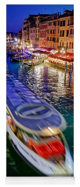 Vaporetto Crossing The Grand Canal At Night In Venice, Italy Yoga Mat