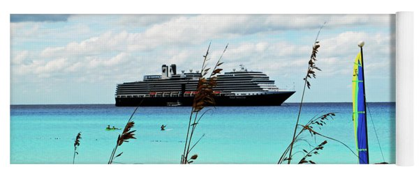 Cruise Ship At Half Mon Cay Yoga Mat