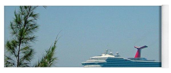 Cruise Ship At Half Moon Cay Yoga Mat