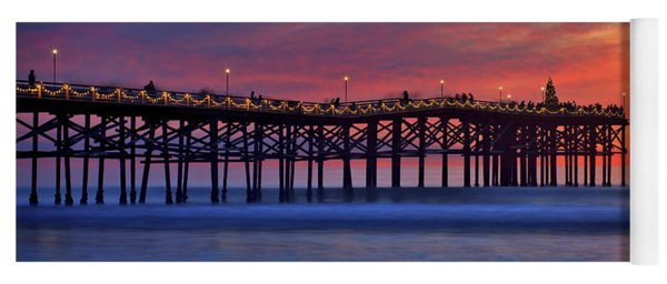 Crystal Pier In Pacific Beach Decorated With Christmas Lights Yoga Mat