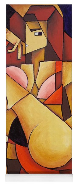 Yoga Mat featuring the painting Cube Woman by Sotuland Art