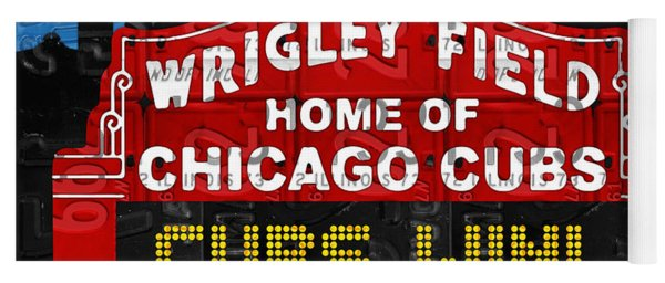 Cubs Win Wrigley Field Chicago Illinois Recycled Vintage License Plate Baseball Team Art Yoga Mat