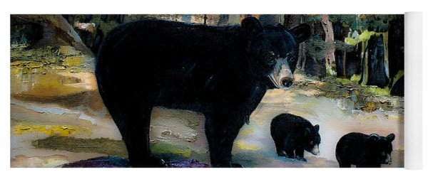 Yoga Mat featuring the painting Cubs With Momma Bear - Dreamy Version - Black Bears by Jan Dappen