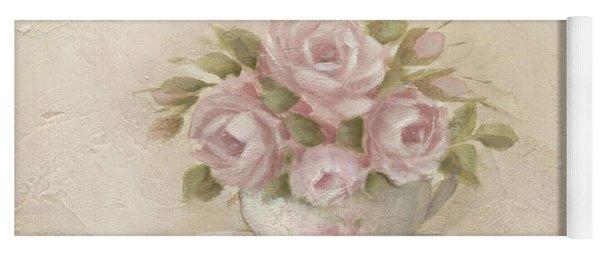 Cup And Saucer  Pink Roses Yoga Mat