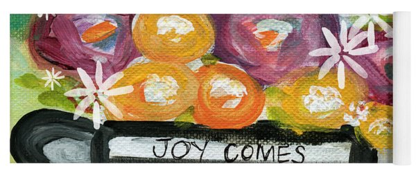 Cup Of Joy 2- Contemporary Floral Painting Yoga Mat