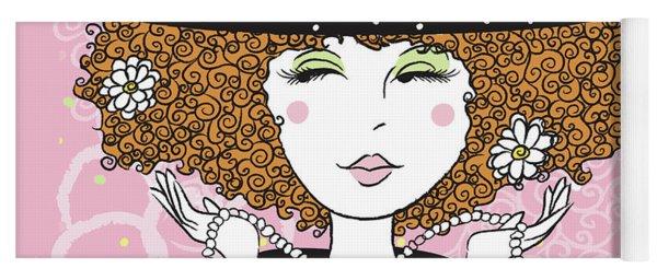 Curly Girl In Polka Dots Yoga Mat