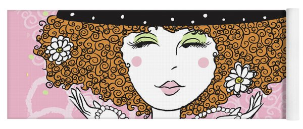 Curly Girl In Polka Dots Yoga Mat