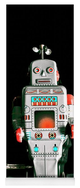 Cute 1970s Robot On Black Background Yoga Mat