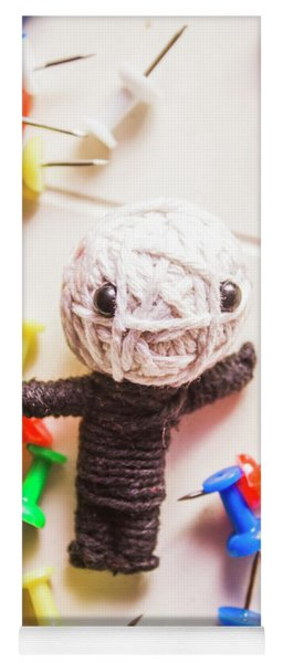 Cute Doll Made From Yarn Surrounded By Pins Yoga Mat
