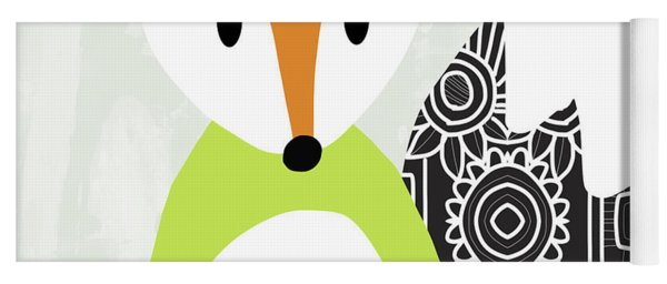 Cute Green And Black Fox- Art By Linda Woods Yoga Mat