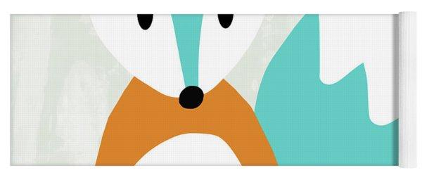Cute Orange And Blue Fox- Art By Linda Woods Yoga Mat