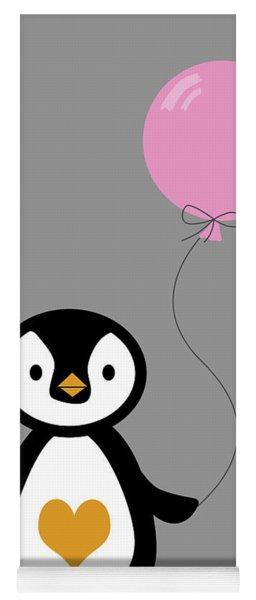 Cute Penguin With Balloon Yoga Mat
