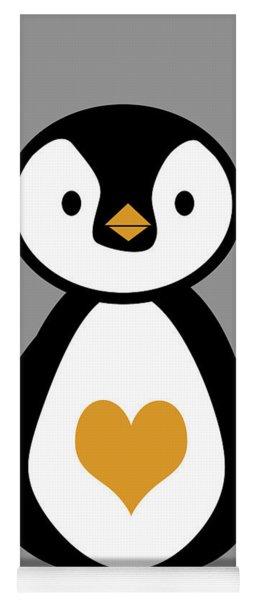 Cute Penguin With Heart Yoga Mat