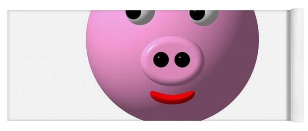 Cute Pink Pig With Purple Bow Yoga Mat