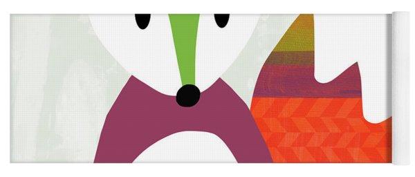 Cute Purple And Green Fox- Art By Linda Woods Yoga Mat