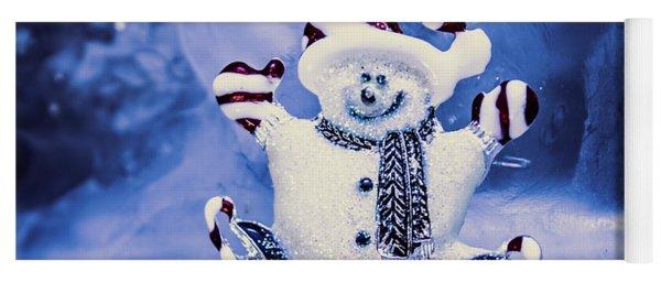 Cute Snowman In Ice Skates Yoga Mat