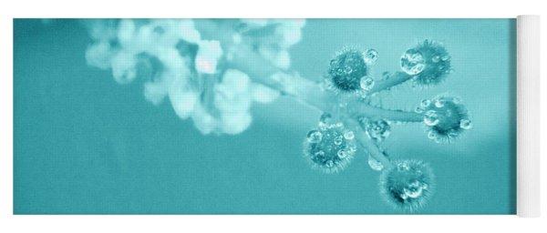 Aqua Hibiscus Droplets Yoga Mat