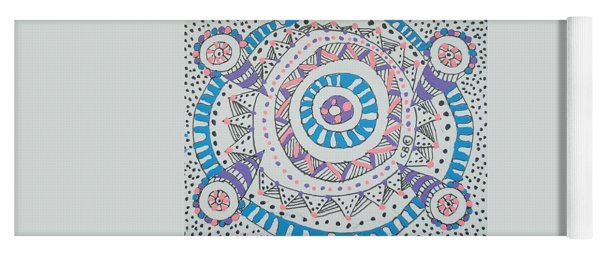 Yoga Mat featuring the drawing Cylinder by Carole Breccht