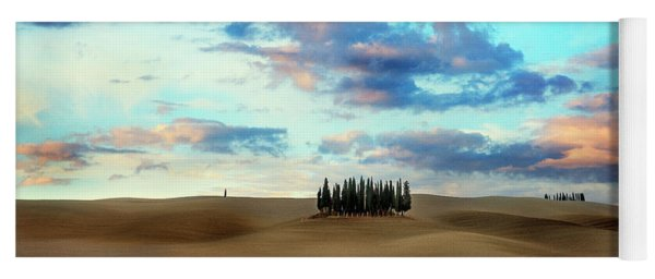 Cypress Trees Of San Quirico D'orcia Of Tuscany Yoga Mat