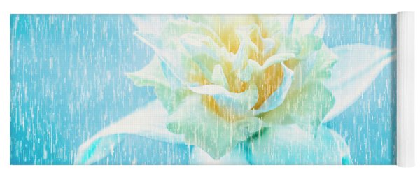 Daffodil Flower In Rain. Digital Art Yoga Mat