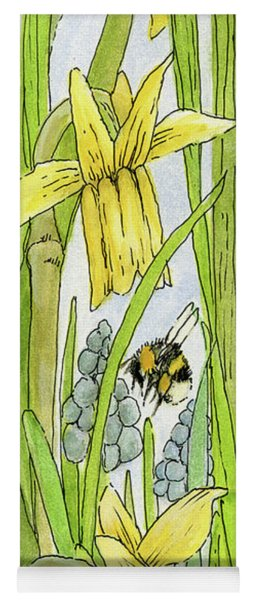 Daffodils And Bees Yoga Mat