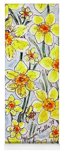 Yoga Mat featuring the painting Daffodils by Monique Faella