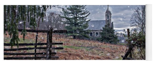 Dahlgren Chapel Winter Scene Yoga Mat