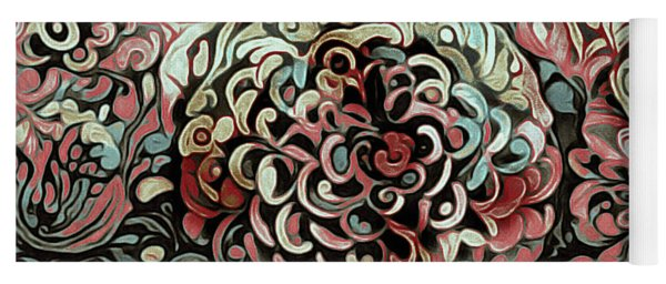 Yoga Mat featuring the mixed media Dahlia Delight by Susan Maxwell Schmidt