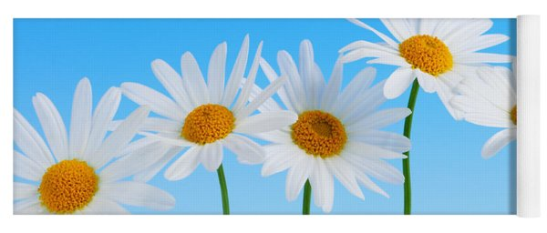 Daisy Flowers On Blue Yoga Mat