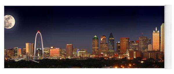 Dallas Skyline At Dusk Big Moon Night  Yoga Mat