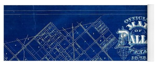 Dallas Texas Official 1875 City Map Blueprint Butterfield And Rundlett Yoga Mat