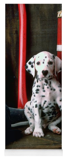 Dalmatian Puppy With Fireman's Helmet  Yoga Mat