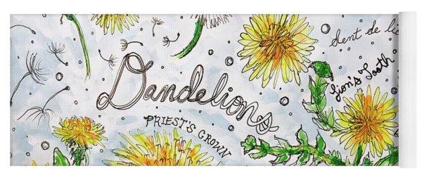 Yoga Mat featuring the painting Dandelions by Monique Faella
