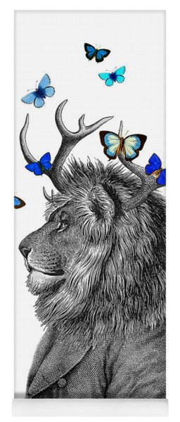 Dandy Lion With Antlers And Blue Butterflies Yoga Mat