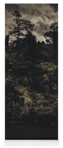 Dark Landscape Photograph Of Distant People Hiking Yoga Mat