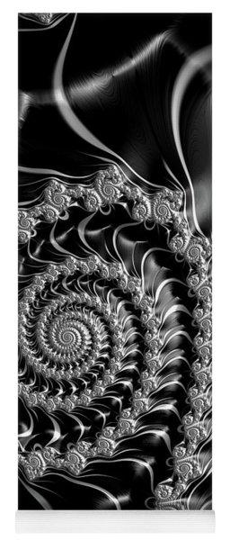 Dark Spirals - Fractal Art Black Gray White Yoga Mat