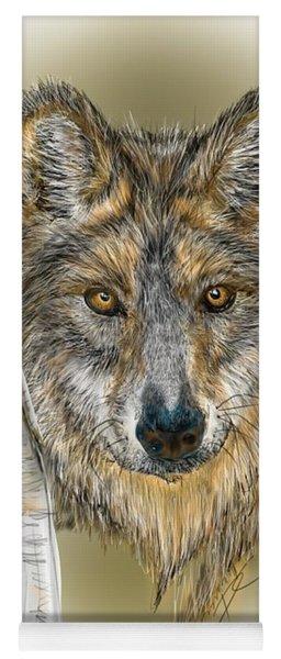 Dark Wolf With Birch Yoga Mat