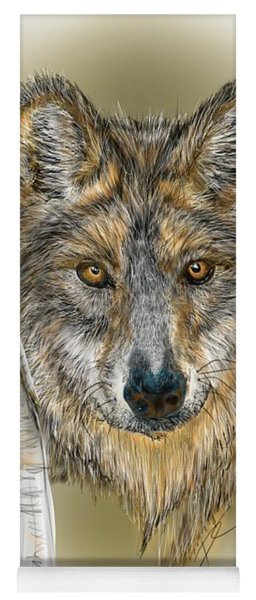 Yoga Mat featuring the digital art Dark Wolf With Birch by Darren Cannell