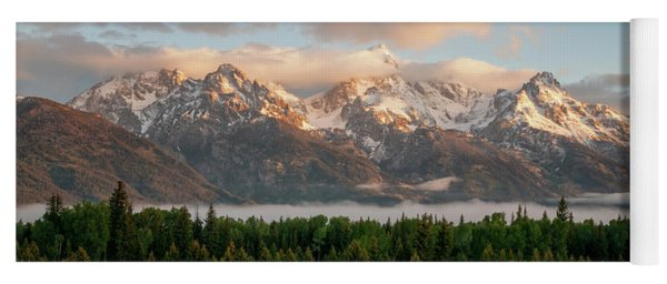 Dawn At Grand Teton National Park Panorama Wyoming Yoga Mat