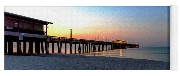 Dawn At Gulf Shores Pier Al Seascape 1283a Digital Painting Yoga Mat