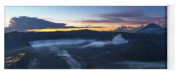 Yoga Mat featuring the photograph Dawn Breaking Scene Of Mt Bromo by Pradeep Raja Prints