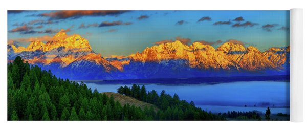 Dawn On The Tetons Yoga Mat