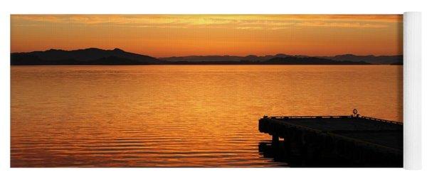 Dawn On The Water At Dusavik Yoga Mat