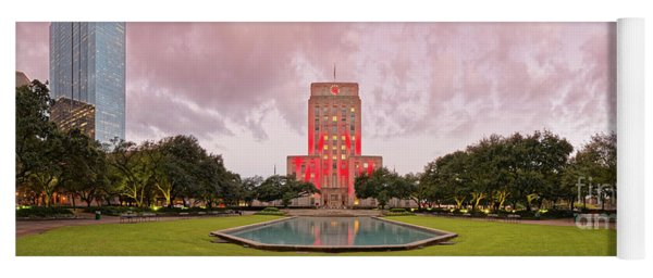 Dawn Panorama Of Houston City Hall At Hermann Square - Downtown Houston Harris County Yoga Mat